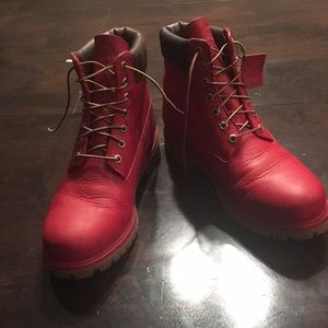 Men's timberland boots red size 10